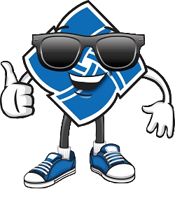 Community Financial logo with sunglasses, arms & legs